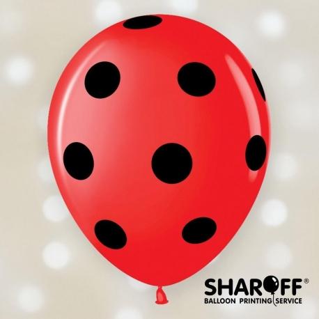 Воздушный шар (12'' 30 cм) Горох крупный (чёрный), Пастель