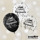 Воздушный шар (12'' 30 cм) З днем народження, Микс чёрный