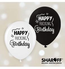 Воздушный шар (12'' 30 cм) Happy Fucking Birthday, Микс чёрный