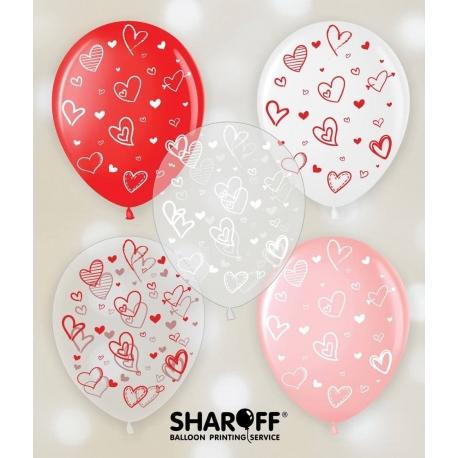 Воздушный шар (12'' 30 cм) Сердечки, белый, розовый, красный