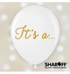 Воздушный шар (12'' 30 cм) It`s a... белый, золото, 25 шт. 2 ст.