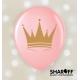 Воздушный шар (12'' 30 cм) Короны (золотые), белый, розовый
