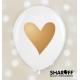 Воздушный шар (12'' 30 cм) Сердца (золотые), белый, розовый