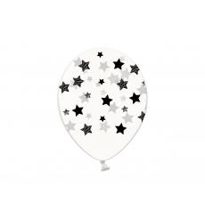 Воздушный шар (B105, 32 cм) Чёрные звезды на прозрачном, 25 шт.