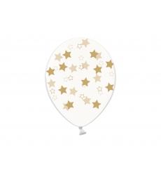 Воздушный шар (B105, 32 cм) Золотые звезды на прозрачном, 25