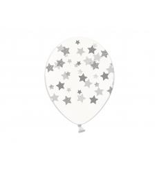 Воздушный шар (B105, 32 cм) Серебряные звезды на прозрачном, 25