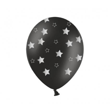 Воздушный шар (B105, 32 cм) Серебряные звезды на чёрном, 25 шт.