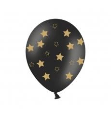 Воздушный шар (B105, 32 cм) Золотые звезды на чёрном, 25 шт. 50