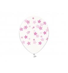 Воздушный шар (B105, 32 cм) Розовые звезды на прозрачном, 25
