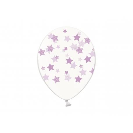 Воздушный шар (B105, 32 cм) Лавандовые звезды на прозрачном, 25