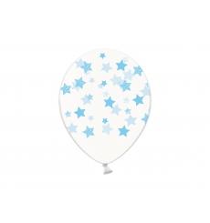 Воздушный шар (B105, 32 cм) Голубые звезды на прозрачном, 25