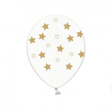 Воздушный шар (B105, 32 cм) Золотые звезды на белом, 25 шт. 50