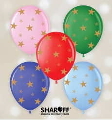 Воздушный шар (12'' 30 cм) Золотыее звезды, микс пастель, 50