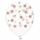 Воздушный шар (B105, 32 cм) Розовое золото звезды на