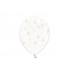 Воздушный шарик (B105, 30 cм), белые звездочки на прозрачном