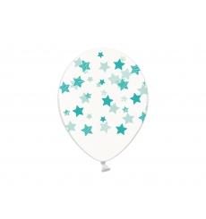 Воздушный шарик (B105, 30 cм), мятные звездочки на прозрачном