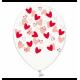 Воздушный шарик (B105, 30 cм), красные кривые сердечки на