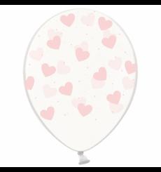 Воздушный шарик (B105, 30 cм), зефирки сердечки на прозрачном