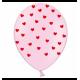 Воздушный шарик (B105, 30 cм), красные сердечки на розовом
