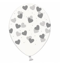Воздушный шарик (B105, 30 cм), серебряные сердечки на
