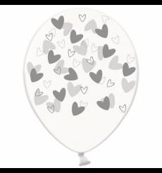Воздушный шарик (B105, 30 cм), серебряные кривульки сердечки на