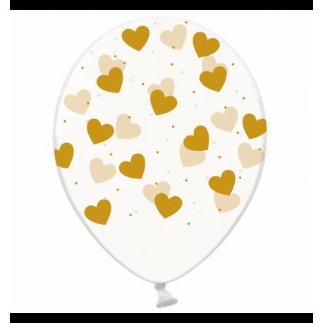 Воздушный шарик (B105, 30 cм), золотые сердечки на
