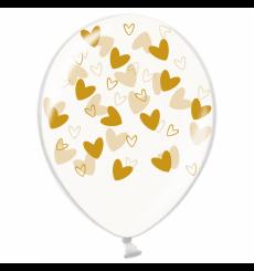 Воздушный шарик (B105, 30 cм), золотые кривулькисердечки на