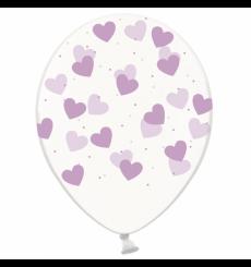 Воздушный шарик (B105, 30 cм), лавандовые сердечки на