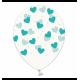 Воздушный шарик (B105, 30 cм), мятные сердечки на прозрачном