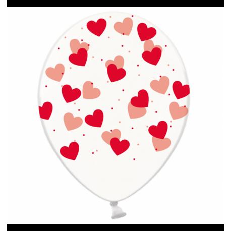 Воздушный шарик (B105, 30 cм), красные сердечки на прозрачном
