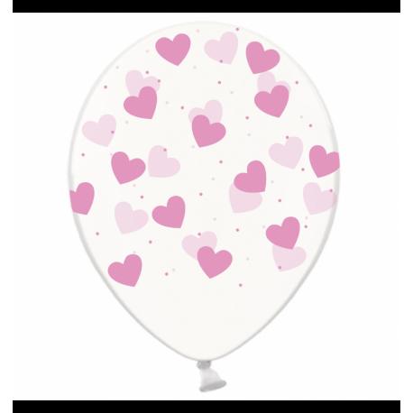 Воздушный шарик (B105, 30 cм), розовые сердечки на прозрачном