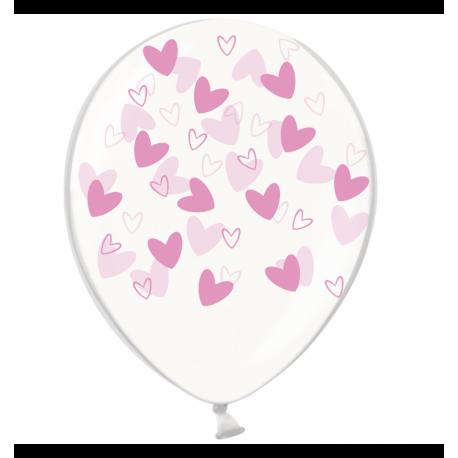 Воздушный шарик (B105, 30 cм), розовые кривульки сердечки на