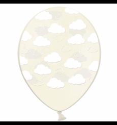 Воздушный шарик (B105, 30 cм), облака на прозрачном 25 шт. 5 ст.