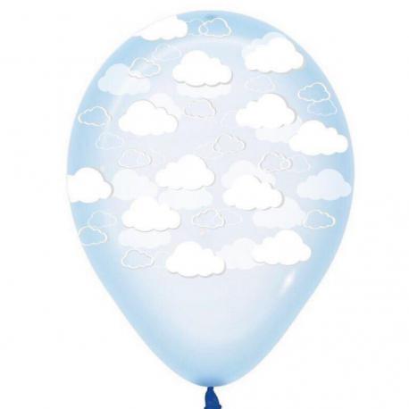 Воздушный шарик (B105, 30 cм), облака на леденце голубом 25 шт.