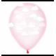Воздушный шарик (B105, 30 cм), облака на леденце розовом 25 шт.