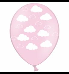 Воздушный шарик (B105, 30 cм), облака на розовом 25 шт. 5 ст.
