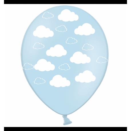 Воздушный шарик (B105, 30 cм), облака на голубом25 шт. 5 ст.