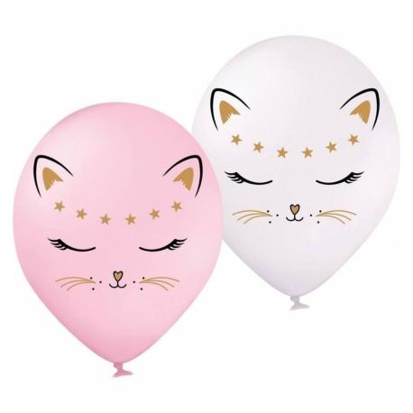 Воздушный шарик (B105, 30 cм), кошечка (микс розовая и белая)