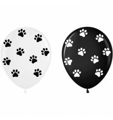 Воздушный шарик (B105, 30 cм), лапки микс (на белом и черном)