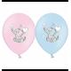 Воздушный шарик (B105, 30 cм), слоники микс (голубые и розовые)