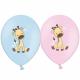 Воздушный шарик (B105, 30 cм), жирафики микс (голубые и