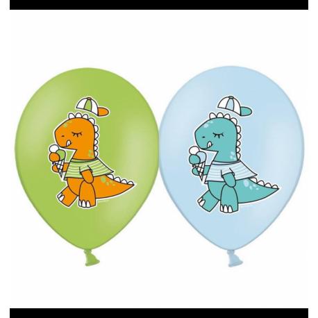 Воздушный шарик (B105, 30 cм), динозаврики микс (голубые и