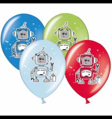 Воздушный шарик (B105, 30 cм), роботы микс 25 шт. 1 ст.