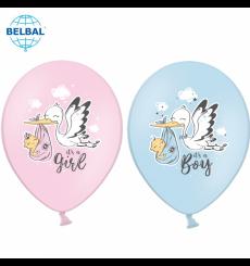 Воздушный шарик (B105, 30 cм), аисты микс (голубые и розовые)