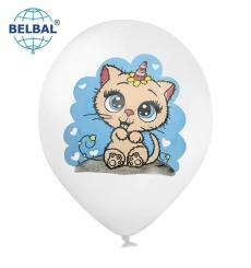 Воздушный шарик (B105, 30 см) Котик с сердечками на белом 25
