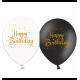 Воздушный шарик (B105, 30 cм), Happy Birthday золото (микс) 25