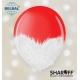 Воздушный шарик (B105, 30 cм) Brush shine белые на красном 1