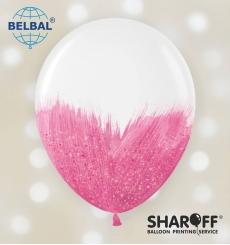Воздушный шарик (B105, 30 cм) Brush shine розовые на белом 1