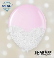 Воздушный шарик (B105, 30 cм) Brush shine белые на розовом