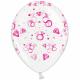 Воздушный шарик (B105, 30 cм), розовое кольцо на прозрачном